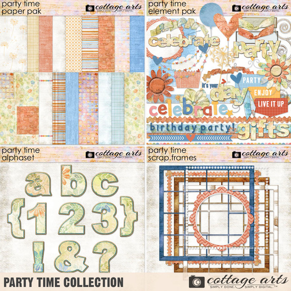Party Time Collection Digital Art - Digital Scrapbooking Kits