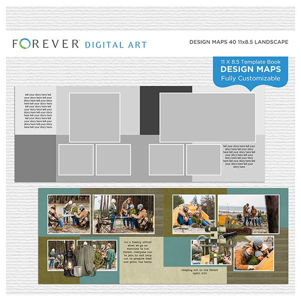 Forever Design Maps 40 11x8.5 Digital Art - Digital Scrapbooking Kits