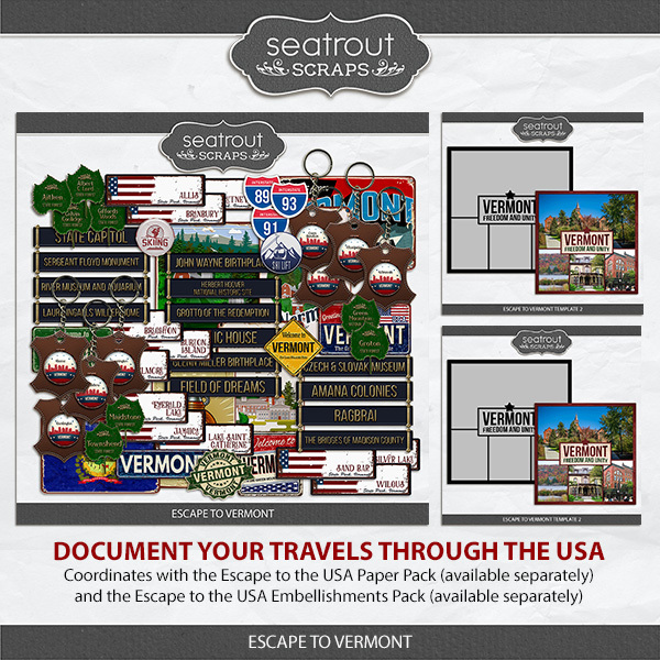 Escape to Vermont Digital Art - Digital Scrapbooking Kits