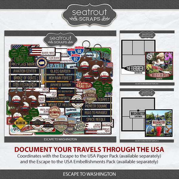 Escape to Washington Digital Art - Digital Scrapbooking Kits