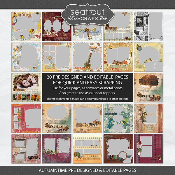 Autumntime Predesigned & Editable Pages Digital Art - Digital Scrapbooking Kits