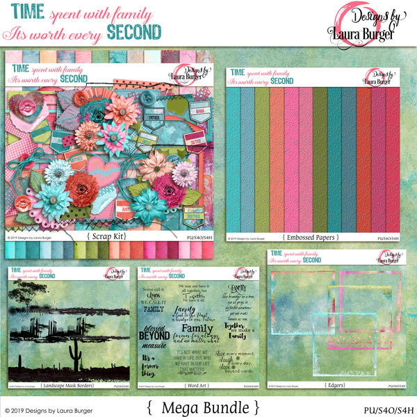 Time Spent with Family Is Worth Every Second Bundle Digital Art - Digital Scrapbooking Kits