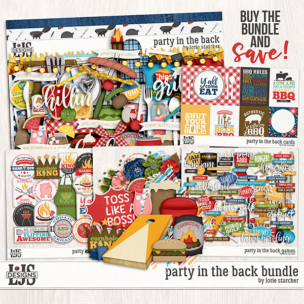 Party In The Back Bundle Digital Art - Digital Scrapbooking Kits