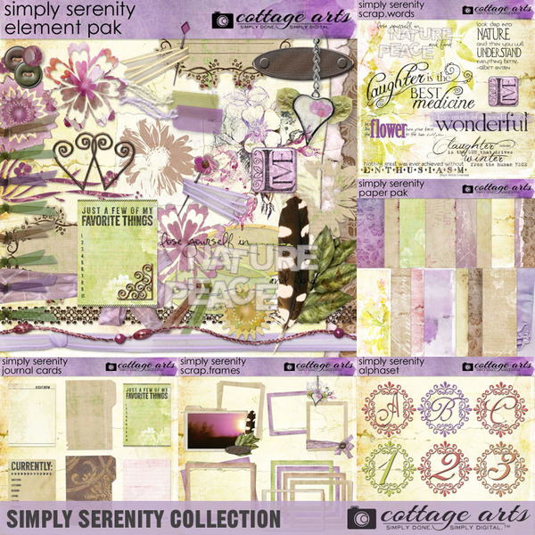 Simply Serenity Collection Digital Art - Digital Scrapbooking Kits