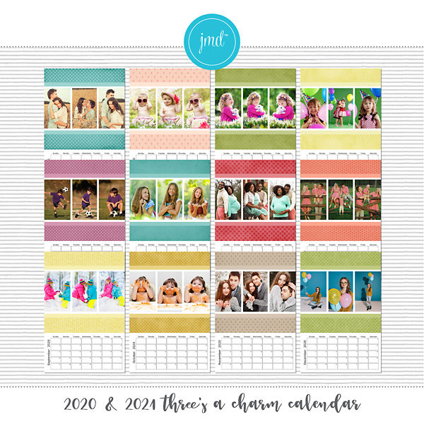 2020 & 2021 Three's a Charm Calendar Digital Art - Digital Scrapbooking Kits