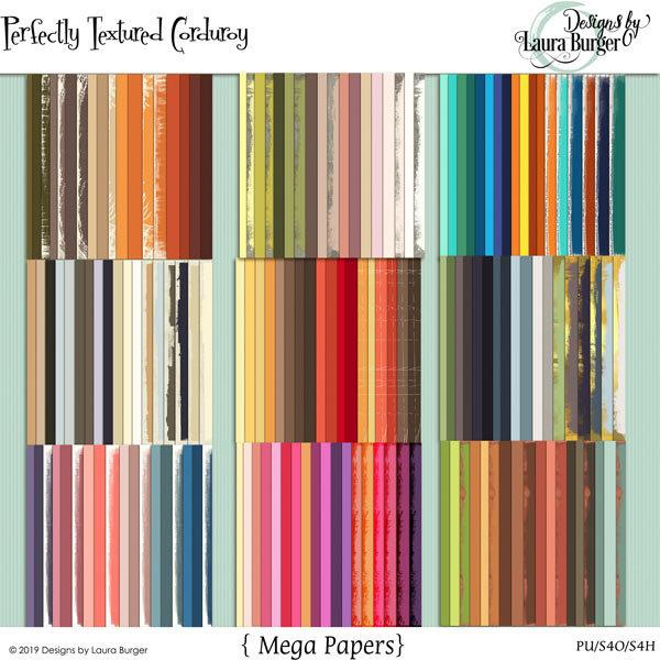 Perfectly Textured Corduroy Paper Bundle Digital Art - Digital Scrapbooking Kits