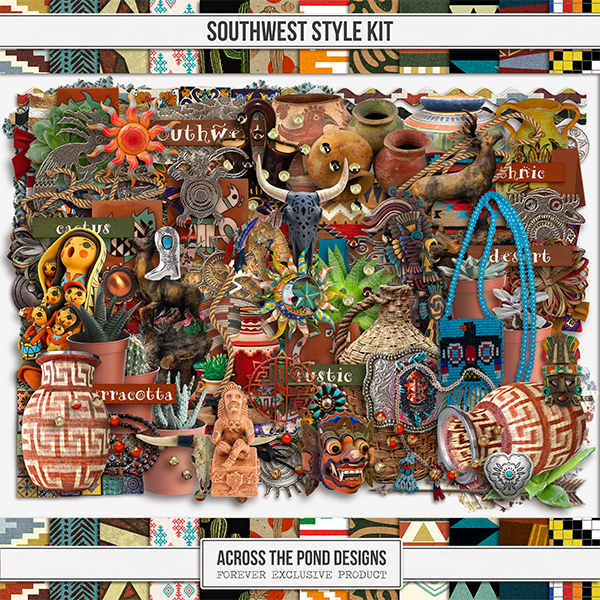 Southwest Style Kit Digital Art - Digital Scrapbooking Kits