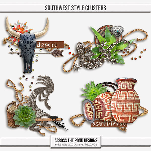 Southwest Style Clusters Digital Art - Digital Scrapbooking Kits