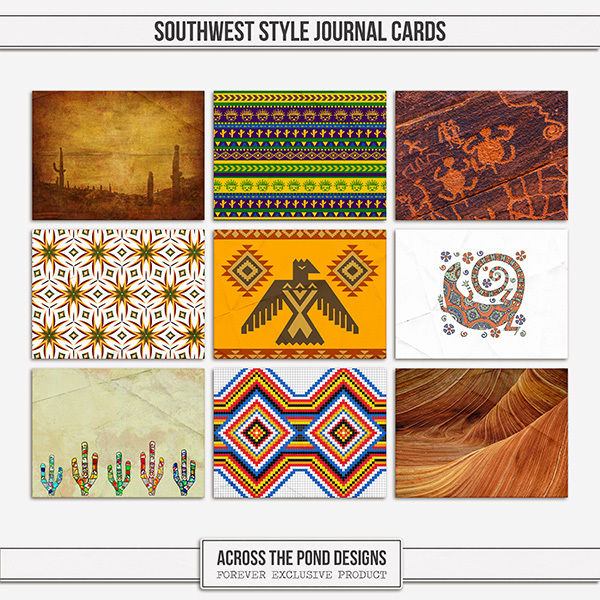 Southwest Style Journal Cards Digital Art - Digital Scrapbooking Kits
