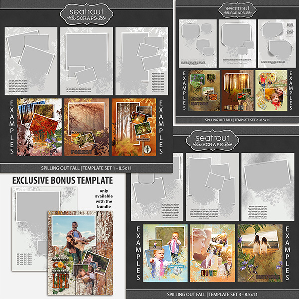 Spilling Out Fall Bonus Bundle - 8.5x11 Digital Art - Digital Scrapbooking Kits