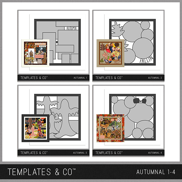 Autumnal 1-4 Digital Art - Digital Scrapbooking Kits