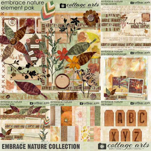 Embrace Nature Collection Digital Art - Digital Scrapbooking Kits