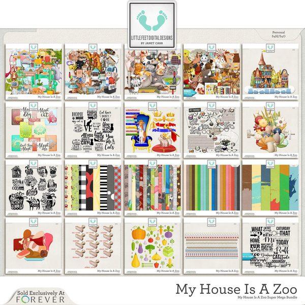 My House Is A Zoo Super Mega Bundle Digital Art - Digital Scrapbooking Kits