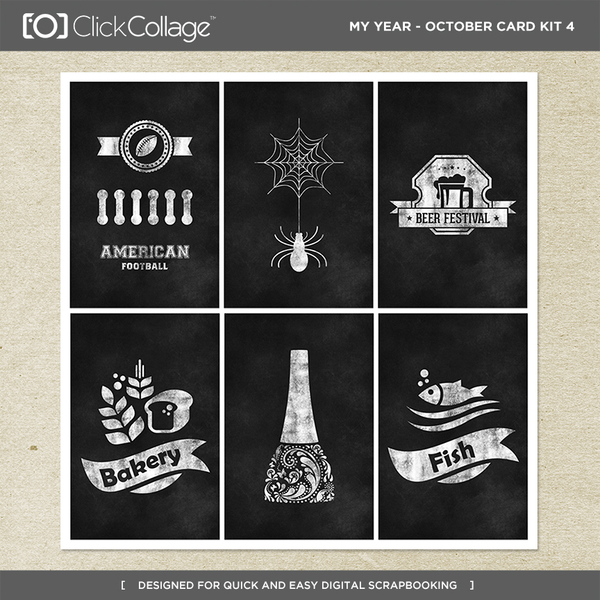 My Year - October Card Kit 4 Digital Art - Digital Scrapbooking Kits