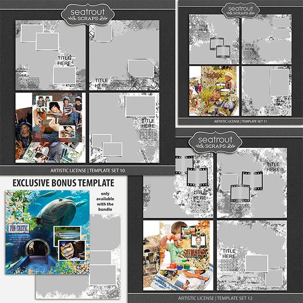 Artistic License Bonus Bundle 4 - 12x12 Digital Art - Digital Scrapbooking Kits