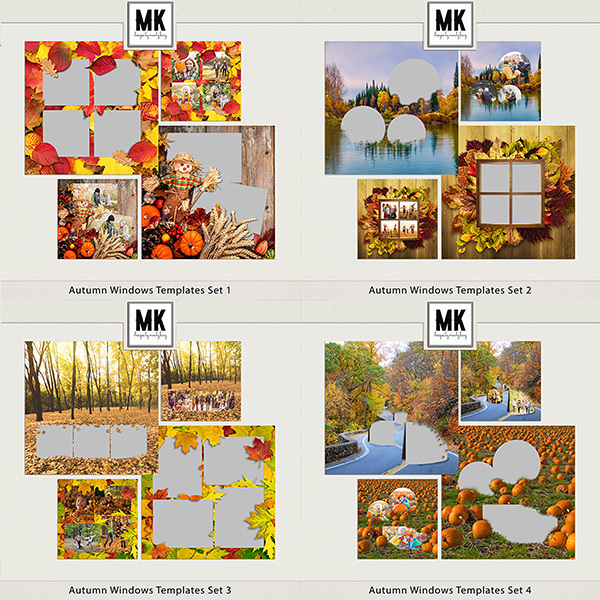 Autumn Windows Templates Sets 1-4 Digital Art - Digital Scrapbooking Kits