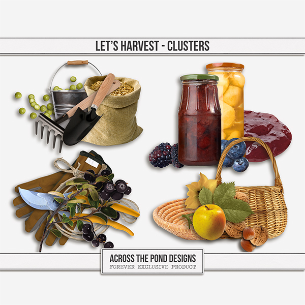Let's Harvest Clusters Digital Art - Digital Scrapbooking Kits