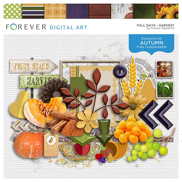 Fall Days - Harvest Digital Art - Digital Scrapbooking Kits