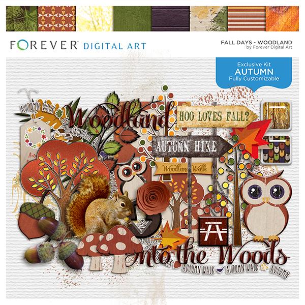 Fall Days - Woodland Digital Art - Digital Scrapbooking Kits