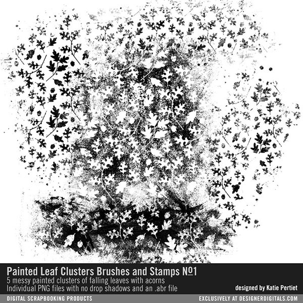 Painted Leaf Clusters Brushes and Stamps No. 01 Digital Art - Digital Scrapbooking Kits