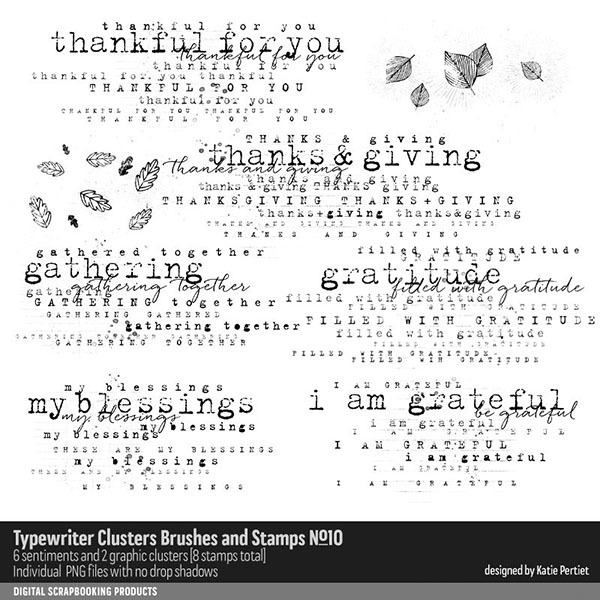 Typewriter Clusters Brushes and Stamps No. 10 Digital Art - Digital Scrapbooking Kits
