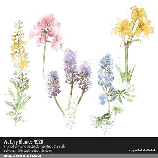 Watery Blumes No. 26 Digital Art - Digital Scrapbooking Kits