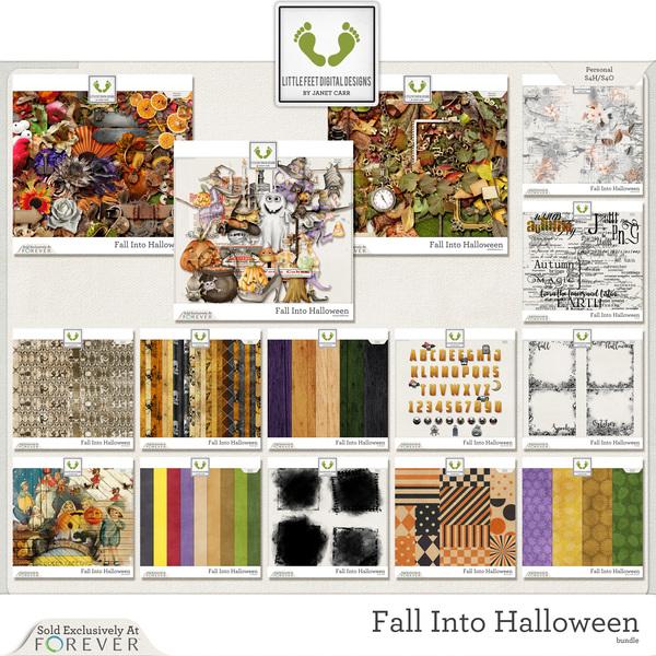 Fall Into Halloween Digital Art - Digital Scrapbooking Kits