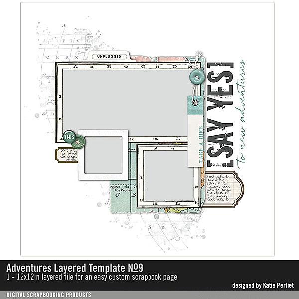 Adventures Layered Template No. 09 Digital Art - Digital Scrapbooking Kits