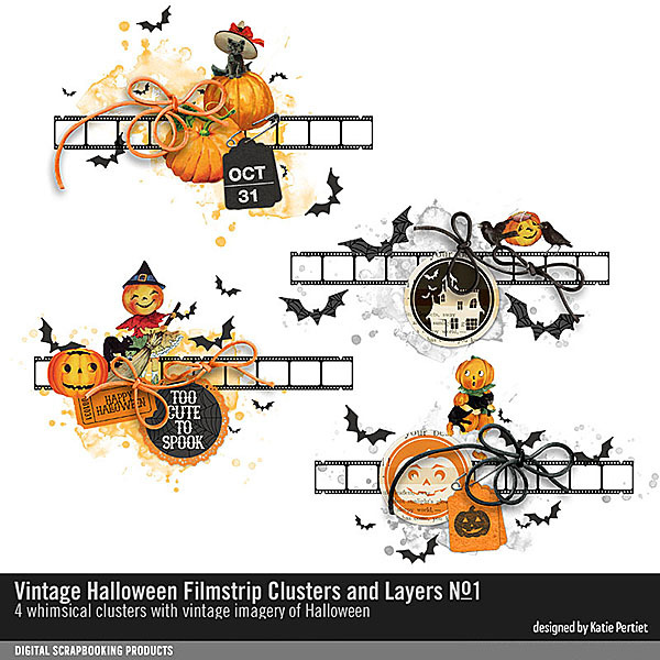 Vintage Halloween Filmstrip Clusters and Layers No. 01 Digital Art - Digital Scrapbooking Kits