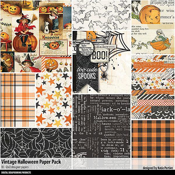 Vintage Halloween Paper Pack Digital Art - Digital Scrapbooking Kits