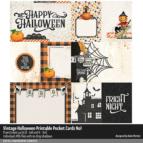 Vintage Halloween Pocket Cards No. 01 Digital Art - Digital Scrapbooking Kits