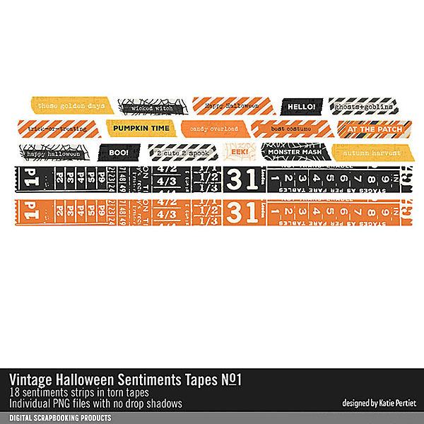 Vintage Halloween Sentiment Tapes No. 01 Digital Art - Digital Scrapbooking Kits