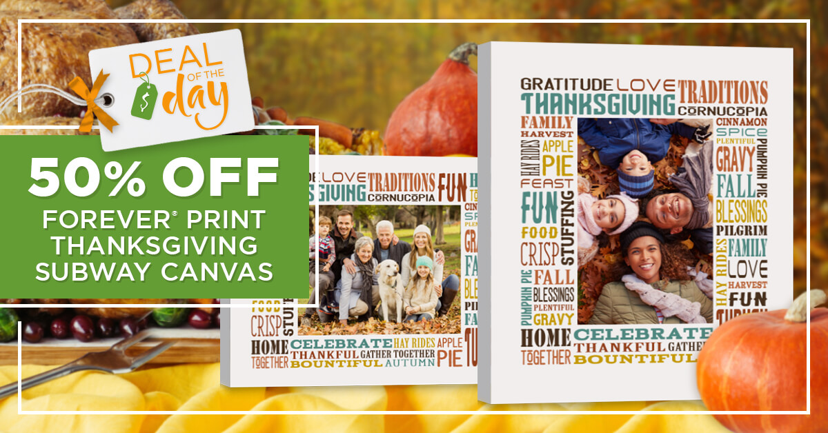 Prep for the holidays with 50% OFF Thanksgiving Subway Canvas!