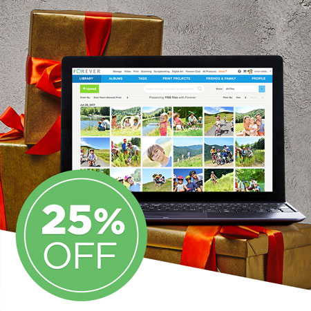 Save 25% on all FOREVER Storage® single payments of 25GB and over!