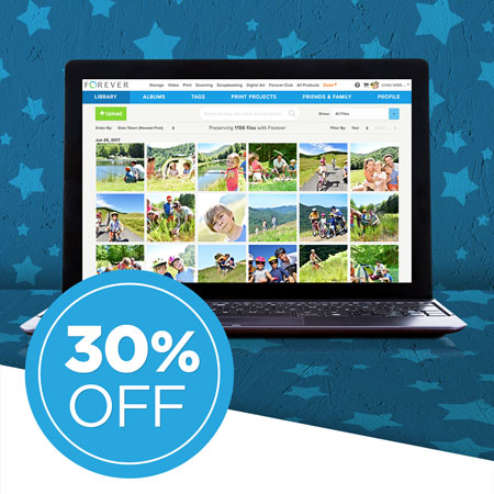 Save 30% on FOREVER Storage® single payments of 25GB and over!