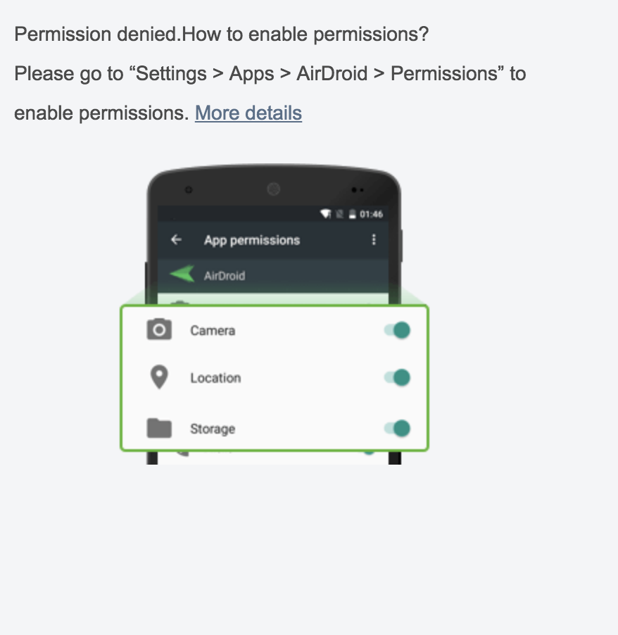 How to manage permission for AirDroid on device with Android v 6 0