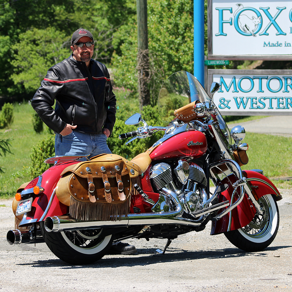 Barry from Mooresville, NC with his Striped Racing Jacket and Indian.