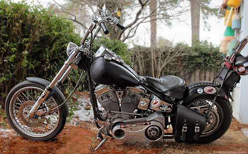 Q-Ball's Chopper Saddlebags on his bike.