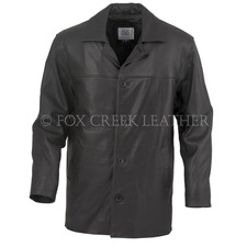Leather Button Up Car Coat