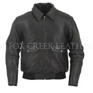 Leather Bomber w/Knit Trim