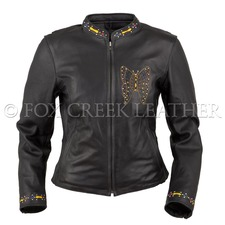 Fox Creek Leather Butterfly Motorcycle Jacket on Sale
