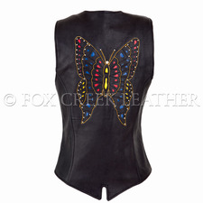 Fox Creek Leather Butterfly Motorcycle Vest on Sale