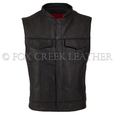Leather Rebel Vest with Red Lining