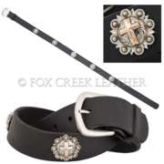 Leather Belt With Conchos
