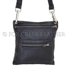 Leather Zip Flat Crossbody Bag