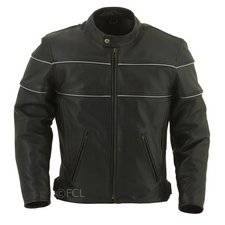 Fox Creek Leather Men's Vented Reflector Motorcycle Jacket on Sale