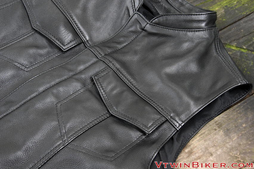 Detail picture of the leather vest.