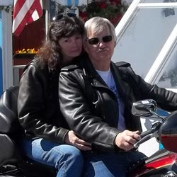 Theresa and Richard in their Fox Creek Leather Jackets