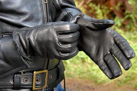 Fox Creek Leather Deerskin Motorcycle Gloves