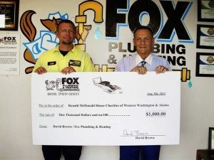 Fox Plumbing and Heating Donation Ronald Mcdonald House